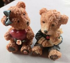More details for pair of vintage valentine bear figurines rare 2