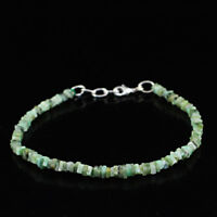 """Genuine 29.00 Cts Earth Mined 8"""" Inches Long Untreated Emerald Beads Bracelet"""