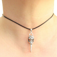 Bird Skull Charm Pendant Choker Necklace with Black Cord