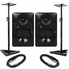 """Mackie MR524 (Pair) 5"""" Active Studio Monitors 100W With Stands & Cables"""