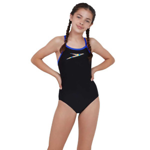 Speedo Endurance Junior Girl Boom Placement Thinstrap Muscleback Swimsuit Black