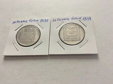 2 pièces de 10 F en argent Turin 1938/39