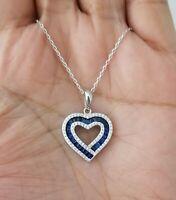 925 Sterling Silver Blue Sapphire Cz Heart Pendant Necklace