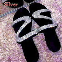 Womens Summer Bling Rhinestone Sandal Shoes Flat Open Toe Slides Slipper New US