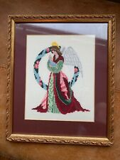 Gold Coloured Frame Red Undertones Angel Cross Stitch Picture