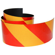 FLURO Magnetic Reflective Tape 1M x 75mm x 0.8mm Hi-Vis Red and Yellow Stripe