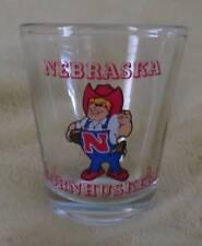 NEW Vintage Nebraska CORNHUSKERS Mascot SHOTGLASS Collector Husker Whiskey Glass
