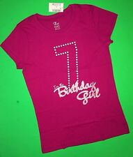 ~NEW~ 7th BIRTHDAY 7 Years Girls Graphic Shirt 10-12 Large Gift! Pink SS PARTY