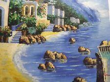 España Italia Grece Pintura Al Óleo Grande Lienzo paisaje mar puesta de sol Mar Original