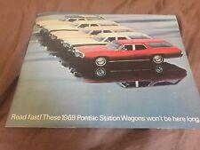 1969 Pontiac Catalina Bonneville Station Wagon Large Catalog Brochure Prospekt