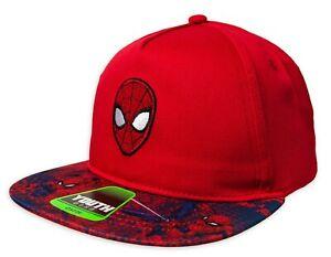 SPIDER-MAN Boys/Youth Red Flat Bill Logo Baseball Cap Snapback Hat Ages 4-12 NWT