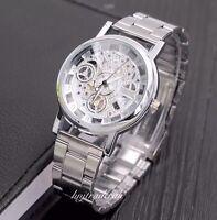 Luxury Men's Fashion Hollow Skeleton Quartz Stainless Steel Wrist Watch-Silver