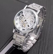 Luxury Men's Fashion Hollow Skeleton Quartz Stainless Steel Wrist Watch-Silver