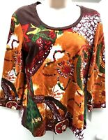 Chicos Blouse Size 1 Med Brown Green 3/4 Sleeve Top Flowers 100% Cotton Womens