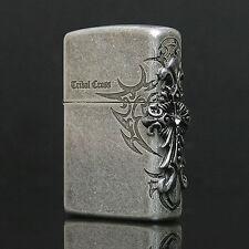 Zippo Tribal Cross Side Emblem Street Chrome USA Genuine Vintage Silver Lighter