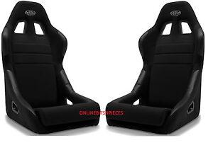 Fixed Back Black Race Sports Seat Pair SAAS Mack 2