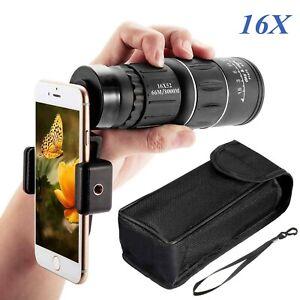16X Zoom Compact Len Monocular Telescope HD Scope Camera Hunter Phone Holder UK