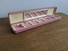 Vintage Pink Earring Travel Case Storage Mirror 6 Spaces Jewellery Box