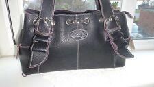 Tod's Made in Italy Black Leather Handbag Vintage Grab/Shoulder Bag