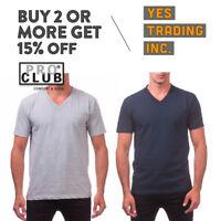 PROCLUB PRO CLUB MENS CAUSL V NECK T SHIRT SHORT SLEEVE SHIRTS HEAVYWEIGHT TEE