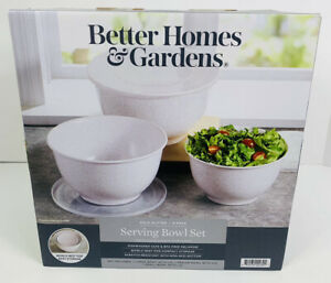 NEW- Better Homes & Gardens Serving Bowl Set - WHITE, GOLD GLITTER SPARKLE *FUN*