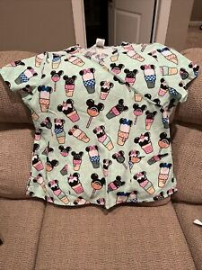 Disney Womens Scrub Top 2XL Mickey Mouse Mint Green Ice Cream Cones Popsicles LN