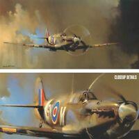 "48W""x24H"" SPITFIRE by BARRIE CLARK WW2 BATTLE AIRCRAFT SUPERMARINE PLANE CANVAS"