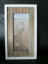 Rare Rustic Mermaid Picture Framed Wood Pancels Beach Sand Starfish Unique Frame
