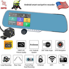 "Android Dual Lens 5"" HD 1080P Wifi Car DVR GPS Navigation Rearview Mirror Camera"