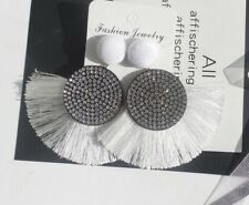 Silver White Long Drop Tassel Fashion Earring Boho Festival Party Boutique Bling