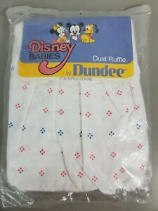 """Disney Babies By Dundee Mickey Mouse Crib 11"""" Dust Ruffle New Old Stock NOS"""