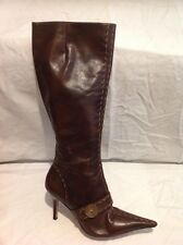 Faith Brown Knee High Leather Boots Size 6
