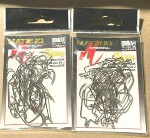 50 Matzuo Fishing 143012 Black X-Wide Sickle J-Bend Worm Fish Hooks Size 1/0