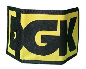 DGK Skateboarding Stacked Black & Yellow Tri-Fold Money Hook & Loop Wallet NEW