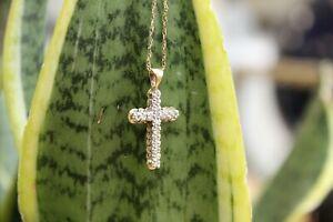 9ct yellow gold round brilliant diamond cross pendant on fine Singapore chain