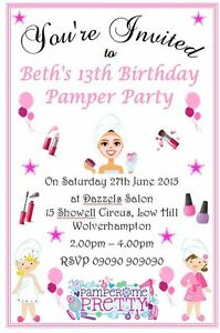 12 x TEENAGE GIRL'S PAMPER PARTY INVITATIONS WITH ENVELOPES & FREE CONSENT FORMS