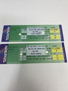 (2) Peter Gabriel Concert ticket stubs 11/18/86