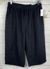 KAREN SCOTT NWT Pull-On Comfort Waist Drawstring Capri Pants Plus 1X Deep Black