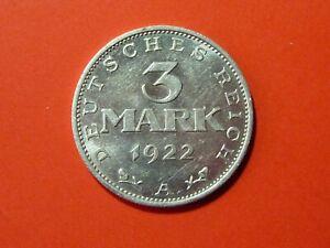 3 Mark Deutsches Reich 1922 (A) # Verfassungstag 11. August 1922