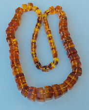 Stunning Vintage Pressed Amber Squared Knoted Bead Necklace 173 Grams