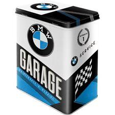 Vintage Style Retro Lidded Storage Tin - BMW Garage  Blue / Black Logo