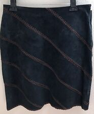 Leather Skirt 12 Large L Womens Black Straight New Nwt Karen Kane