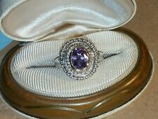 Alwand Vahan 10k Yellow Gold Halo & sterling silver 3ct Bezel Amethyst Ring $450