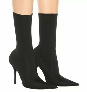 Balenciaga Knife Bootie Womens Stretch Jersey Heel Boots Black Size 39.5, US 9.5