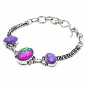 "Triplet Opal, Charoite Gemstone Handmade 925 Sterling Silver Bracelet 7-8"" a702"