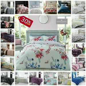PRINTED DUVET COVER SET Reversible Quilted Bedding Single Double King Size Sale
