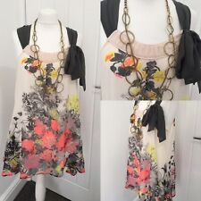 Next Floral Floaty chiffon overlay Top ~Size 18 Neon Floral Detail Print Summer