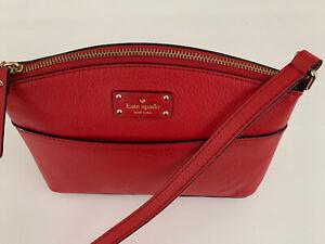 Kate Spade New York Cross body Bag Red Leather Shoulder Handbag