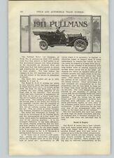 1910 PAPER AD 5 PG 1011 Pullmans Article Car Auto Automobile