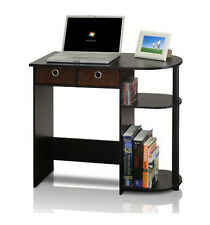Computer Desk For Small Spaces Home Office Table Wood Workstation Espresso Brown